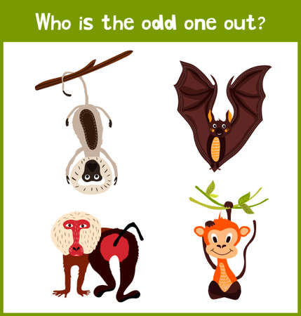 insectivorous: Children colorful educational cartoon game puzzle page for childrens books and magazines on the theme get extra insectivorous animal among the lovely tropical baboons, macaques . Vector illustration