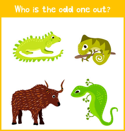 odd: Children colorful educational cartoon game puzzle page for childrens books and magazines on the theme of extra animal find cute among cold-blooded reptiles lizards. Vector illustration Illustration