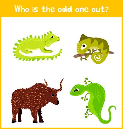 Niños página de puzzle juego de dibujos animados coloridos educativos para libros y revistas para niños sobre el tema de los animales adicional encuentran entre los reptiles lagartos lindo de sangre fría. ilustración vectorial