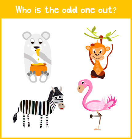 odd one out: Children colorful educational cartoon game puzzle page for childrens books and magazines on the theme find extra warm animal among the animals of the African jungle. Vector illustration