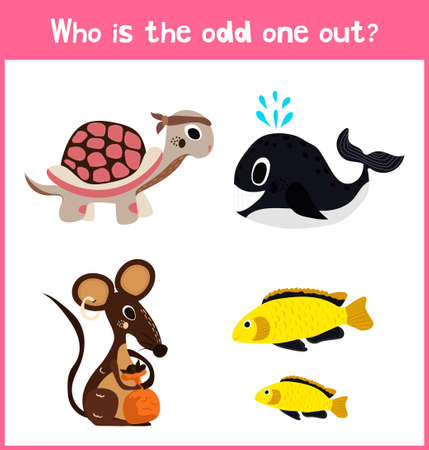 preschool child: Children colorful educational cartoon game puzzle page for childrens books and magazines on the theme extra find pet among Pets. Vector illustration