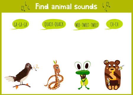 trill: Colorful children cartoon game education puzzle for children on the theme of the study of the sounds of cute wild animals in the forest. Vector illustration Illustration