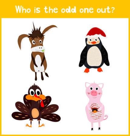 rural development: Children colorful educational cartoon game puzzle page for childrens books and magazines on the theme extra find the animal among the animals living on the farm. Vector illustration Illustration