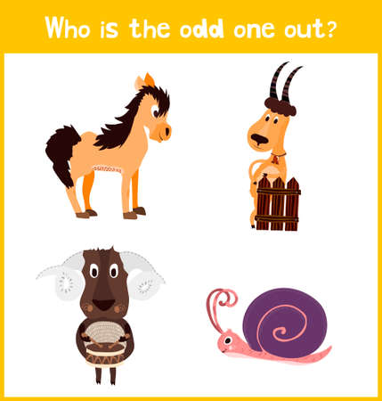 odd one out: Children colorful educational cartoon game puzzle page for childrens books and magazines on the theme get extra animal among the farm animals. Vector illustration