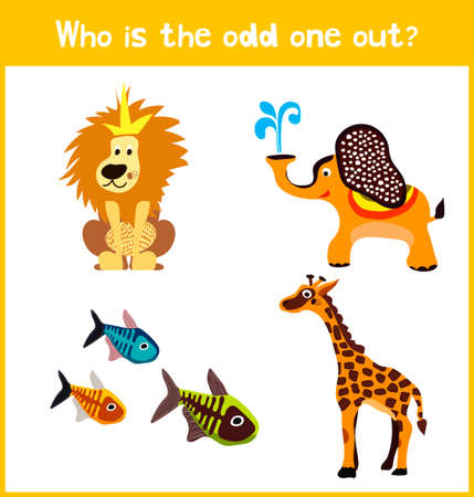 'odd one out': Children colorful educational cartoon game puzzle page for childrens books and magazines on the theme extra find the animal among the animals of the zoo. Vector illustration