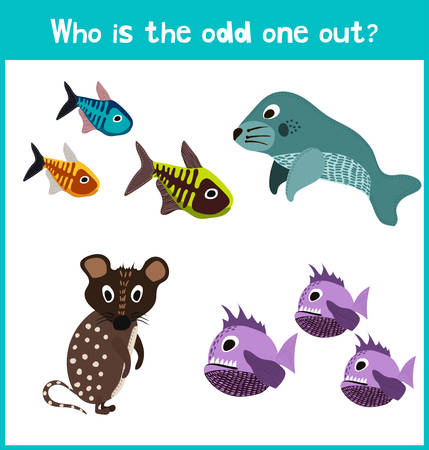 odd one out: Children colorful educational cartoon game puzzle page for childrens books and magazines on the theme of extra animal get among the fish. Vector illustration Illustration