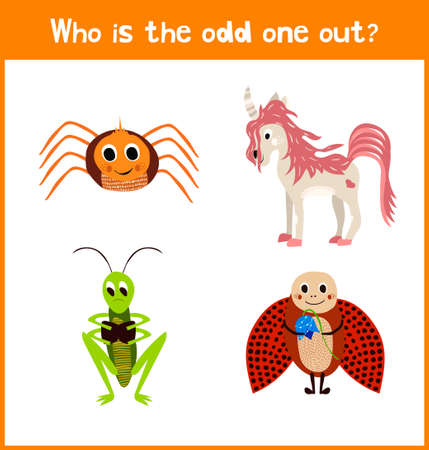 among: Children colorful educational cartoon game puzzle page for childrens books and magazines on the theme get extra mythical animal among the cute insects beetles. Vector illustration