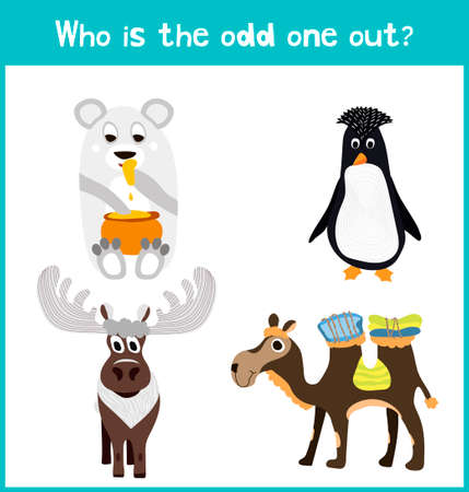 among: Children colorful educational cartoon game puzzle page for childrens books and magazines on the theme get extra animal among animals living in cold polar landscapes. Vector illustration