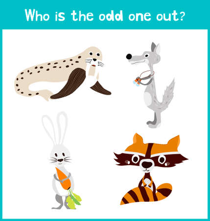 odd one out: Children colorful educational cartoon game puzzle page for childrens books and magazines on the theme extra find the animal among the animals living in the Arctic. Vector illustration