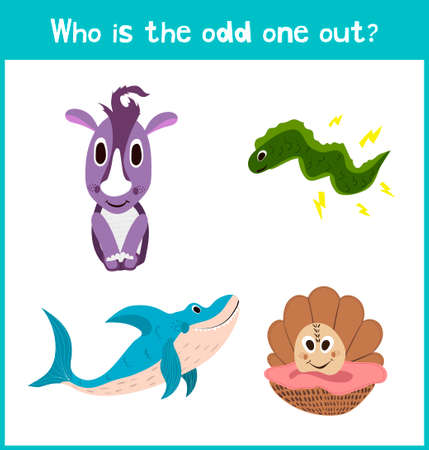 odd one out: Children colorful educational cartoon game puzzle page for childrens books, magazines on the theme get extra animal rhinoceros among the lovely inhabitants of the seas and oceans. Vector illustration Illustration