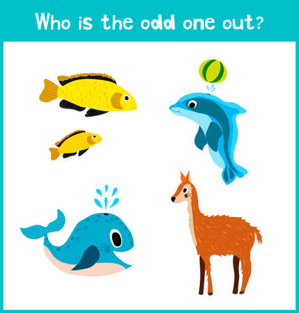 odd one out: Children colorful educational cartoon game puzzle page for childrens books and magazines on the theme get extra animal among marine fishes. Vector illustration Illustration