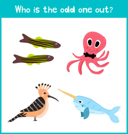 'odd one out': Children colorful educational cartoon game puzzle page for childrens books and magazines on the theme find the extra bird among marine animals. Vector illustration Illustration