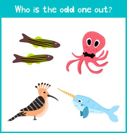 Niños página de puzzle juego de dibujos animados coloridos educativos para libros y revistas para niños sobre el tema encuentra el ave adicional entre los animales marinos. ilustración vectorial