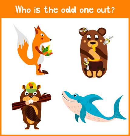 Niños página de puzzle juego de dibujos animados coloridos educativos para libros y revistas para niños sobre el tema hallazgo adicional animal de mar entre los animales salvajes. ilustración vectorial