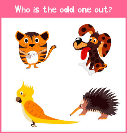 odd one out: Children colorful educational cartoon game puzzle page for childrens books and magazines on the theme extra find an animal among animals. Vector illustration Illustration