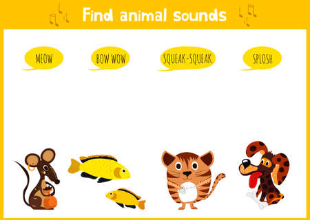 sounds: Colorful childrens cartoon puzzle game for children on the theme of learning animal sounds. Vector illustration