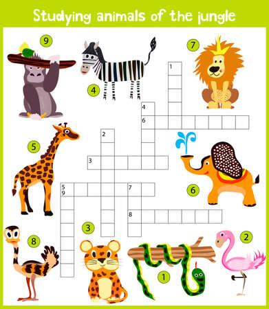 selva caricatura: crucigrama de dibujos animados para niños de colores, juego de la educación para los niños en el tema del estudio de los animales salvajes de la selva y los bosques húmedos ecuatoriales. ilustración vectorial Vectores