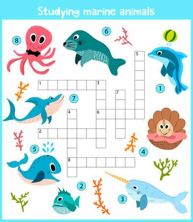 Eine bunte Kinder-Comics oder Kreuzwort, Bildung Spiel für Kinder zum Thema Meerestiere und Fische in den Meeren und Ozeanen auf der ganzen Welt leben. Vektor-Illustration
