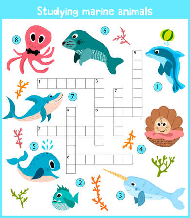 A colorful childrens cartoon crossword, education game for children on the theme of sea animals and fishes living in the seas and oceans around the globe. Vector illustration
