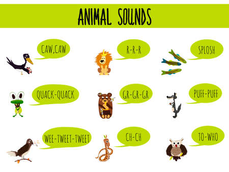 sounds: Children colorful educational cartoon page for childrens books and magazines on the theme of the study of the sounds of cute wild animals in the forest. Vector illustration
