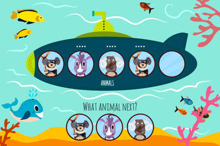 Cartoon Vector Illustration of Education will continue the logical series of colourful animals on submarine among tropical Islands . Matching Game for Preschool Children. Vector illustration