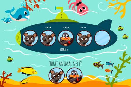 preescolar: Vector de dibujos animados de Educación continuará la serie lógica de animales de colores en submarino en el océano. Juego a juego para niños en edad preescolar. ilustración vectorial