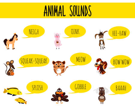 sounds: Children colorful educational cartoon page for childrens books and magazines on the theme of the study of the sounds of cute farm animals and Pets. Vector illustration