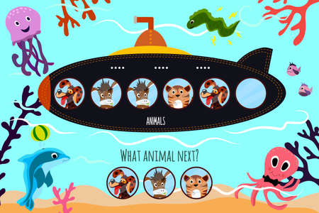 Cartoon Vector Illustration of Education will continue the logical series of colourful domestic animals on submarine in the blue sea. Matching Game for Preschool Children. Vector illustration