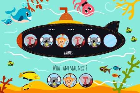 Cartoon Vector Illustration of Education will continue the logical series of colourful animals on submarine in the ocean among sea animals. Matching Game for Preschool Children. Vector illustration
