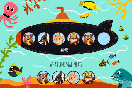 Cartoon Vector Illustration of Education will continue the logical series of colourful animals on submarine forest in the blue sea. Matching Game for Preschool Children. Vector illustration