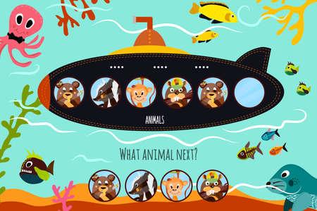 Vector de dibujos animados de Educación continuará la serie lógica de animales de colores en el bosque submarino en el mar azul. Juego a juego para niños en edad preescolar. ilustración vectorial Foto de archivo - 50677130