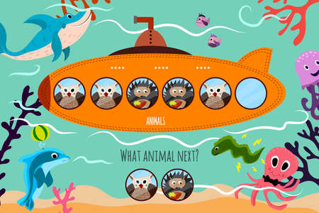 cartoon submarine: Cartoon Vector Illustration of Education will continue the logical series of colourful forest animals on a beautiful orange submarine. Matching Game for Preschool Children. Vector illustration