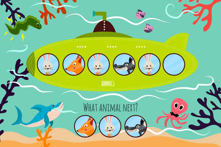 brain puzzle: Cartoon Vector Illustration of Education will continue the logical series of colourful animals on a green submarine . Matching Game for Preschool Children. Vector illustration