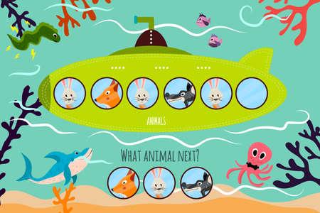 shark cartoon: Vector de dibujos animados de Educación continuará la serie lógica de animales de colores en un submarino verde. Juego a juego para niños en edad preescolar. ilustración vectorial Vectores