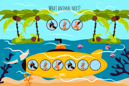 Cartoon Vector Illustration of Education will continue the logical series of colourful animals on a yellow submarine among tropical Islands . Matching Game for Preschool Children. Vector illustration Vettoriali