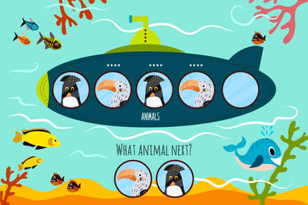 Cartoon Vector Illustration of Education will continue the logical series of colourful tropical and Arctic birds on submarine. Matching Game for Preschool Children. Vector illustration