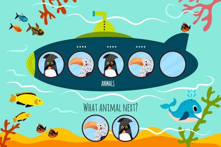 Vector de dibujos animados de Educación continuará la serie lógica de coloridos pájaros tropicales y árticas en submarino. Juego a juego para niños en edad preescolar. ilustración vectorial Foto de archivo - 50677135