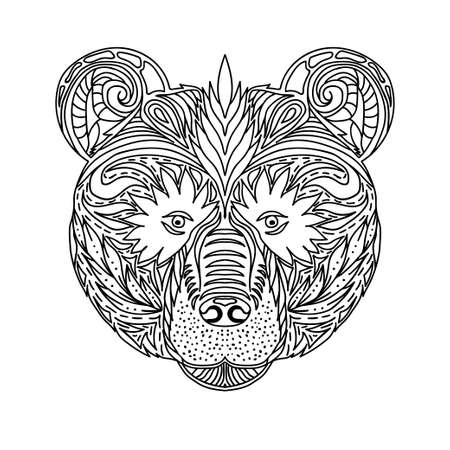 Black and white ornament faces wild beast of the forest bear, ornamental lace design. Page for adult coloring books. Hand drawn ink pattern. Vector illustration Çizim