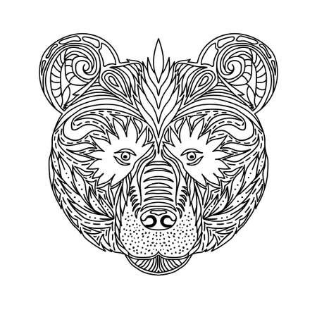 dibujos para colorear: Ornamento blanco y negro se enfrenta a la bestia salvaje del oso bosque, diseño de encaje ornamental. Página de libros para colorear para adultos. Dibujado a mano dibujo de tinta. Ilustración vectorial Vectores