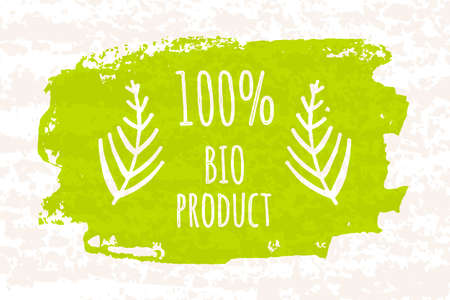 adherence: Creative poster colorful green 100 bio products for a healthy diet and adherence to diet isolated on white background with old paper texture. Vector illustration