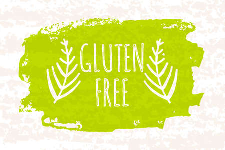 celiac: Creative colorful green bio poster gluten free for healthy eating and dieting isolated on white background with old paper texture. Vector illustration