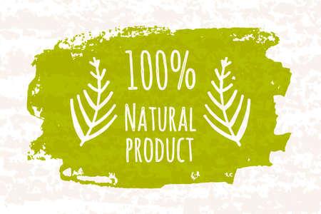 Cartel colorido creativo prozentuale 100 productos verdes para la salud de toda la familia, sin aditivos químicos aislados sobre fondo blanco con textura de papel viejo. ilustración vectorial Foto de archivo - 50677267