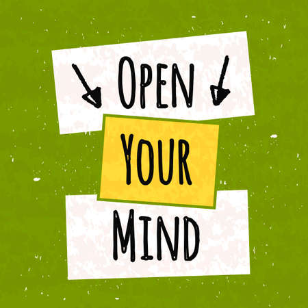 Kreative Typoplakat Handzeichnung in Form von Zitaten und Sätzen Moral und gute Stimmung zu heben sind auf bunten strukturierten grünes Plakat geschrieben. Vektor-Illustration