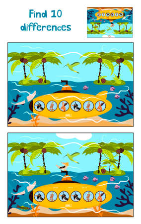 Cartoon of Education to find 10 differences in childrens pictures underwater boat swims with the animals among the Islands . Matching Game for Preschool Children. Vector illustration Çizim