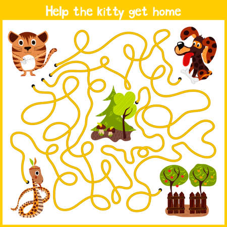Cartoon of Education will continue the logical way home of colourful animals.Help me get the little kitty home by predatory animals. Matching Game for Preschool Children. Vector illustration Ilustração