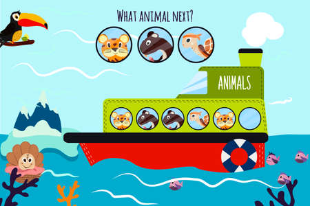 logical: Cartoon Vector Illustration of Education will continue the logical series of colourful animals on a boat in the ocean among sea animals. Matching Game for Preschool Children. Vector illustration