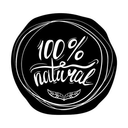 productos naturales: cartel tipográfico creativo o un sello en un círculo negro silueta aislados sobre fondo blanco para las tiendas en línea y supermercados que venden productos naturales. ilustración vectorial Vectores