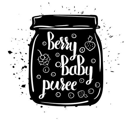wild berry: Children natural food. A jar of vegan baby puree fresh juicy berries isolated on a white background. Vector illustration
