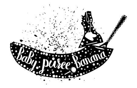 puree: Baby food from banana on a white background. Baby puree.Vector illustration