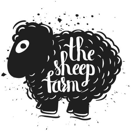 herding: Hand drawn lettering typography poster the silhouette of a sheep isolated on a white background. Rural life. Farm sheep. Vector illustration